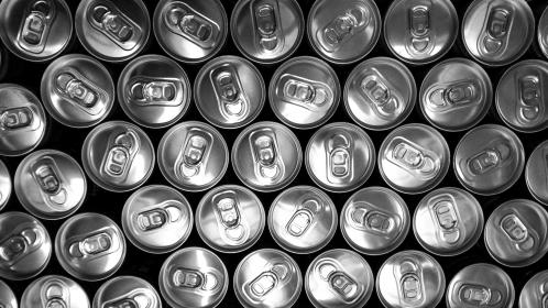 cans, drinks, beverage, pop tabs, black and white