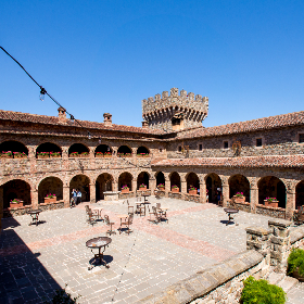 castle,  patio,  tables,  space,  building,  tiles, blue sky, travel, adventure, vacation, holiday, architecture