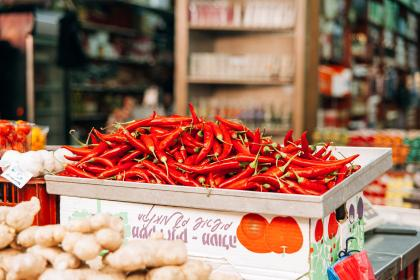 red, chili peppers, vegetables, food, market, groceries