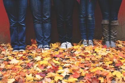 legs, shoes, jeans, boots, outdoor, leaves, autumn, wall