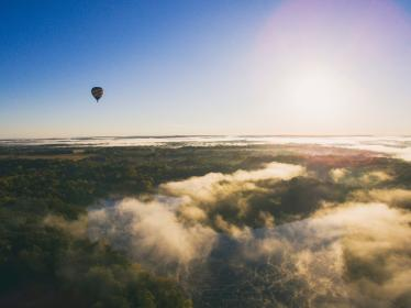 aerial, hot air balloon, clouds, sky, green, woods, forest, nature, landscape