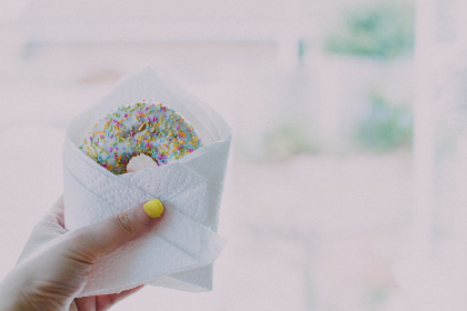 donut,  sprinkles,  hand,  yellow,  nails,  wrapped,  dessert,  food