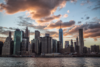 Architecture,   Business,   Travel,   NYC,   Sunset,   USA,  clouds,  sky,  building,  skyscraper,  river,   water,  sunset