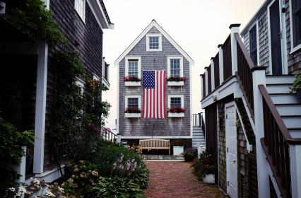 american, flag, usa, united states, house, siding, flowers, pots, cobblestone, plants, windows, steps, stairs, railing, door
