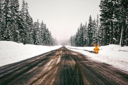 nature, trees, road, snow, cold, way, travel, haze