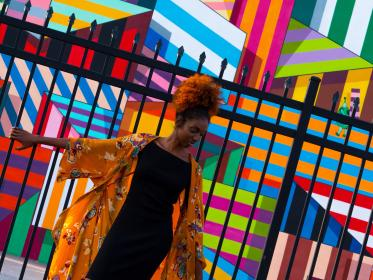 wall, art, public, colorful, people, girl, woman, fashion, model, african american, fence, gate