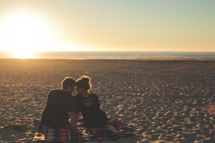 guy, man, girl, woman, people, couple, love, blanket, sunset, beach, sand, ocean, sea