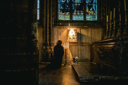 architecture, building, church, cathedral, people, woman, praying, candle, worship, kneel, altar, lights