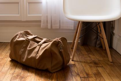 luggage, duffle bag, bag, hardwood, floors, room, house, home, travel, trip, chair