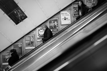 escalator, people, subway, station, underground, black and white, urban, posters