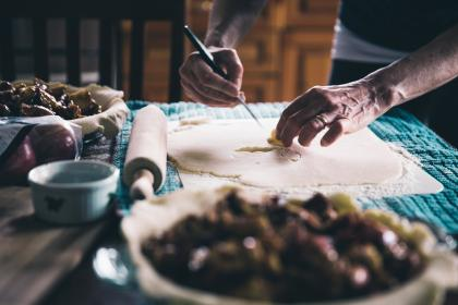 people, hand, chef, kitchen, rolling pin, knife, dough, pie, tablewares