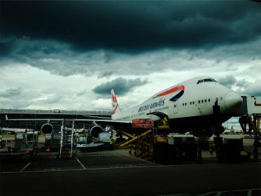 airplane, airport, luggage, baggage, British Airways, travel, transportation, clouds, cloudy, storm, dark, boarding