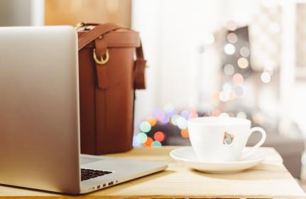 macbook, laptop, computer, technology, tea, cup, bag, leather, desk, business, creative, objects