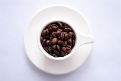 coffee beans, cup, plate