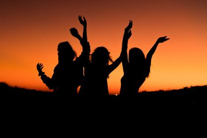 orange, sky, sunset, silhouette, people, girls, women, happy, dance, outdoor