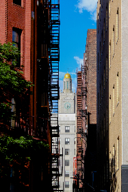 city,  fire,  escape,  buildings,  alley,  windows,  apartments,  sky,  clouds,  brick,  tall,  stairs,  narrow,  exterior,  architecture, urban, downtown