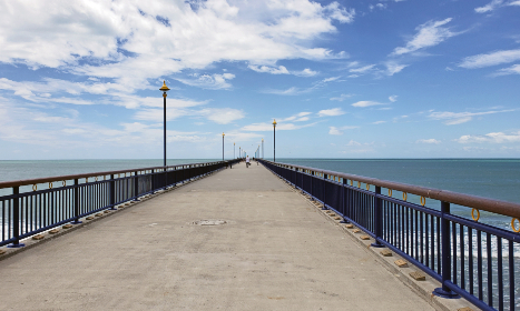 pier,  ocean,  horizon,  sea,  water,  path,  bridge,  sky,  clouds,  blue,  landmark,  outdoor,  travel