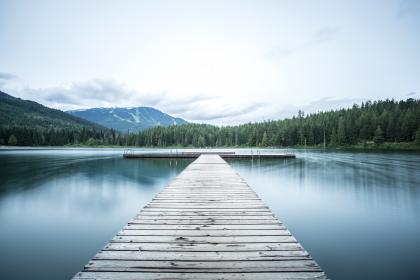dock, lake, water, trees, forest, woods, nature, mountains, landscape, sky, clouds, outdoors