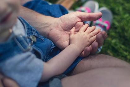 people, father, man, baby, girl, kid, child, family, holding hands, palm, outdoors