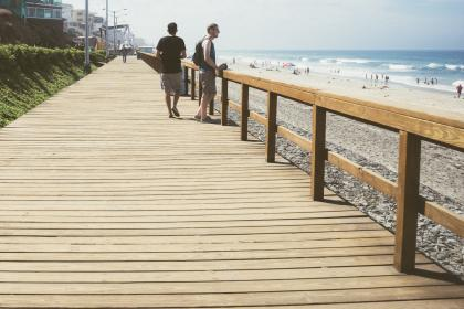 boardwalk, wood, railing, beach, sand, waves, water, sunshine, hot, shorts, tshirt, tanktop, sunglasses, shades, lamp posts, ocean, sea, people
