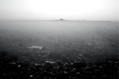 city, aerial, view, buildings, rooftops, architecture, fog, sky, black and white