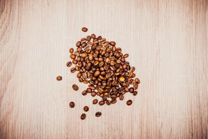 coffee, bean, seed, cafe, wood, table, brown