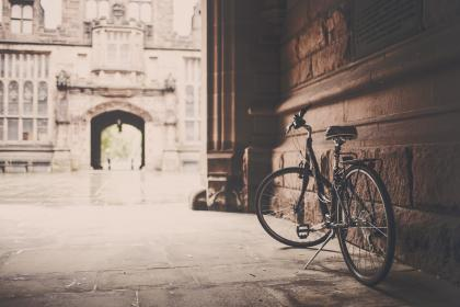 bike, bicycle, kickstand, wall, concrete, floor, building, architecture