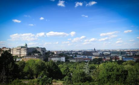 Castle Hill, Budapest, Hungary, city, view, buildings, architecture, trees, sky, clouds
