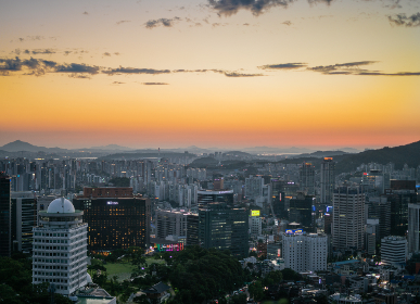 aerial, seoul, city, korea, cityscape, buildings, skyscrapers, downtown, busy, sky, sunset, orange, clouds, travel, landscape