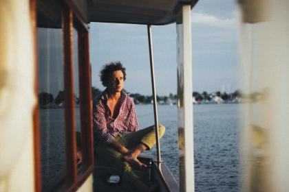 guy, man, shirt, checkered, pants, water, boating, sea, people