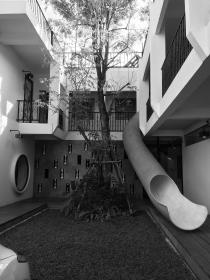 hotel, slide, architecture, balcony, balconies, chiang mai, thailand, black and white, tree