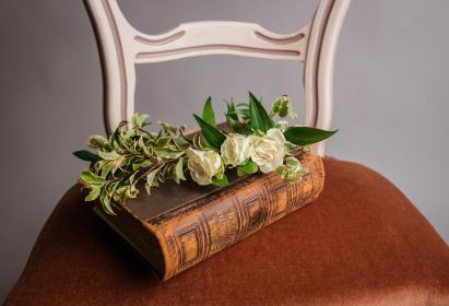 chair, flower, book, scripture