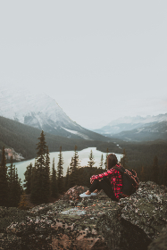 girl,  mountain,  mountains,  lake,  trees,  forest,  rocks,  adventurer,  adventure,  adventuring,  explore,  explorer,  exploring,  brunette,  landscape,  nature,  earth,  freedom,  relax,  free