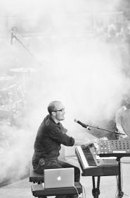 music, keyboards, musician, concert, entertainment, stage, black and white, smoke