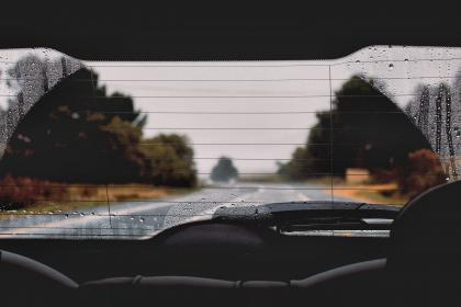 car, vehicle, travel, transportation, nature, adventure, fog, sky, road, plants, blur, glass, rain, water, drops