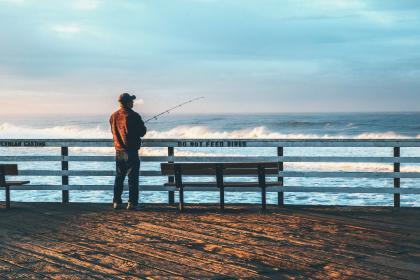 sea, ocean, water, wave, nature, people, man, fishing, bench, outdoor, horizon, cloud, sky