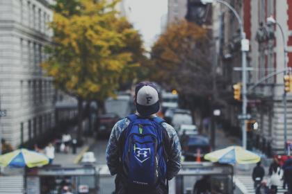 guy, man, city, urban, hat, backpack, lifestyle, streets, roads, people, student