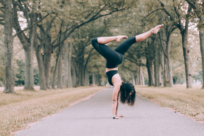 girl,  yoga,  woman,  female,  stretch,  exercise,  active,  fit,  healthy,  health,  energy,  trees,  grass,  outdoors,  outside,  person,  path,  balance,  serene