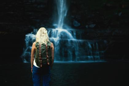 waterfalls, stream, water, dark, cave, people, woman, girl, alone, travel adventure, outdoor, backpack