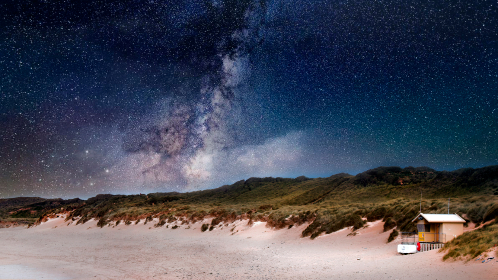 beach house,   stars,   night,   astronomy,   beach,   coast,   constellation,   dusk,   hill,   island,   landscape,   milky way,   mountain,   night sky,   sea,   ocean,   sand,   sun