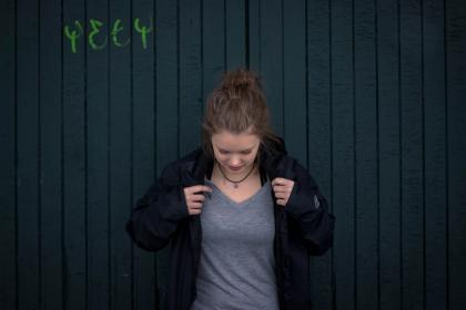 people, woman, fashion, simple, shirt, jacket, wall