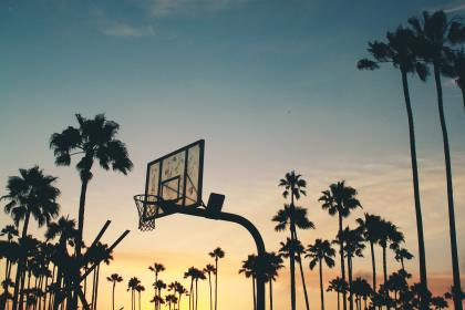 basketball, court, net, rim, sunset, dusk, sky, clouds, palm trees, summer, night