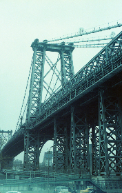 bridge,   sky,   suspension,   travel,   new york city,   overcast,   cloudy,   buildings,   tall,   view,   urban,   road,  city,  architecture,  vintage, grainy