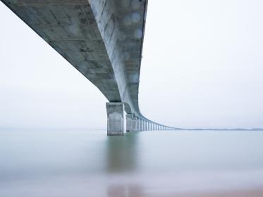 architecture, bridges, structures, steel, concrete, industrial, patterns, perspective, nature,water, river, sea, calm, serene