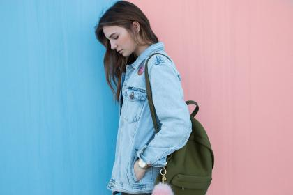 blue, denim, jacket, clothing, fashion, bag, backpack, people, girl, lady, female