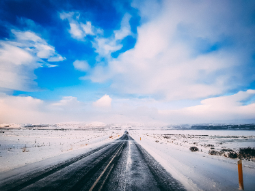 winter,  road,  snow,  cold,  frozen,  landscape,  nature,  outside,  outdoors,  travel,  iceland,  ice,  sky,  clouds,  asphalt,  mountains,  tundra,  country,  frost,  rural,  white,  blue