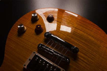 electric, guitar, strings, musical, instrument, glossy, brown, blur