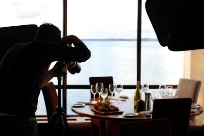 food, photography, photographer, camera, table, chairs, dinner, wine, glasses, plates