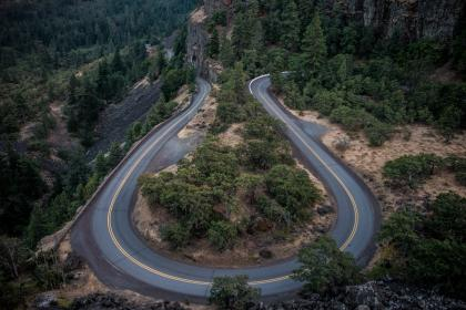 winding, hairpin, road, rural, countryside, trees, nature, outdoors