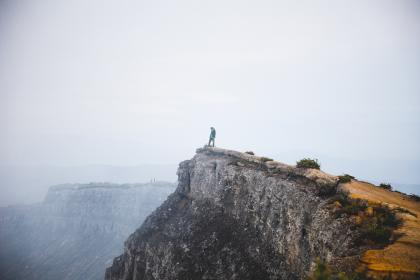 rocks, cliff, hill, highland, mountain, landscape, sky, nature, fog, people, hiking, climbing, outdoor, adventure